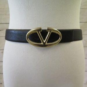 Valentino Logo Buckle Belt Black Leather Size 90